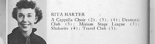 """Rita (Harter) McGinnis, from her high school yearbook in 1936, Shaker Heights (Ohio), """"The Gristmill."""""""