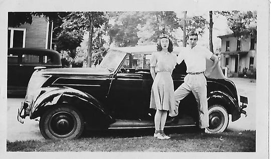 Rita (Harter) McGinnis with her brother Richard Harter and his car in the late 1930s, before he went off to war.