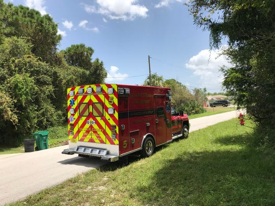 Emergency crews respond to report of drowning in 2600 block of Southwest Harlem in Port St. Lucie Aug. 9, 2018.