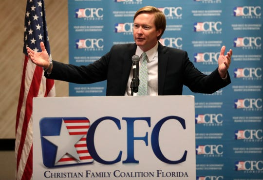Florida Agriculture Commissioner Adam Putnam speaks July 24, 2018, during a meeting of the Christian Family Coalition Florida in Miami.