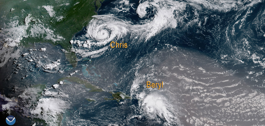 Tropical systems Chris and Beryl popped up in the Atlantic in July 2018.