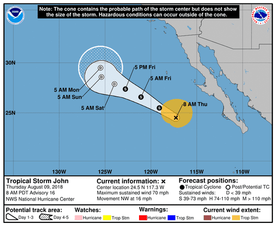 Tropical Storm John 11 a.m. Aug. 9, 2018