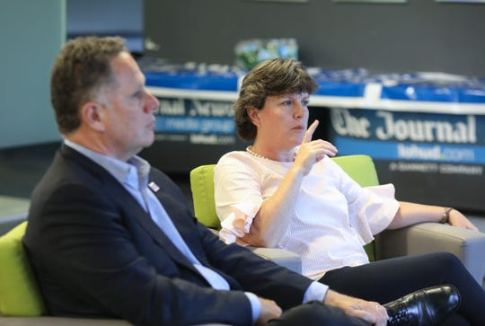 Stephanie Miner, former mayor of Syracuse, right with running mate Michael Volpe, left, running for governor as an independent, with the Serve America Movement party, visited the The Journal News headquarters in White Plains on Thursday, August 9, 2018.