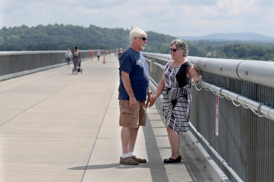 Sharon and Jim Herring of Fishkill stand on the Walkway Over the Hudson in Poughkeepsie Aug. 9, 2018. On Aug. 25th, Sharon Herring will lead an Overdose Awareness Walk on the Walkway Over the Hudson in memory of her grandson, Matthew Herring, who died of a heroin overdose at the age of 24, exactly one year ago, on Aug. 25, 2017.