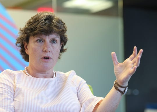 Stephanie Miner, former mayor of Syracuse, running for governor as an independent, with the Serve America Movement party, visited the The Journal News headquarters in White Plains on Thursday, August 9, 2018.