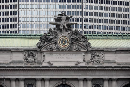 A view of Grand Central Terminal from Park Avenue, Aug. 9, 2018. Some of the limestone that makes up the building's facade is pretty thin, as in only half an inch thick. The limestone gives the imposing building a certain look. The interior is composed primarily of granite.