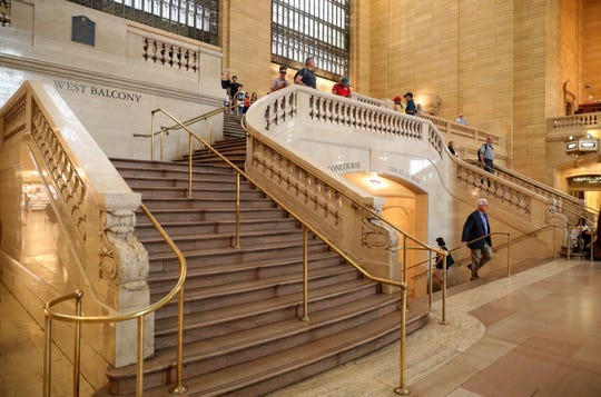 One of the two staircases at Grand Central Terminal. Aug. 9, 2018. The two staircases leading to the terminal's lower concourse were built more than 80 years apart.