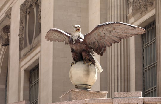 One of two iron eagles that remains adorning Grand Central Terminal, is pictured Aug. 9, 2018. There were once a dozen before they were removed during reconstruction, and a couple are still missing to this day.