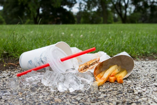"America has been called a ""fast food nation,"" and with that has come more fast food litter, as more and more people eat on the go and don't properly trash their waste."