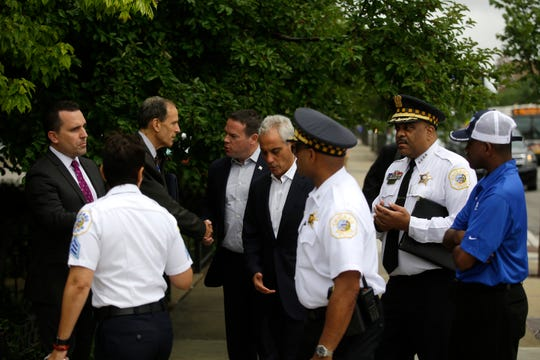 CHICAGO, IL - AUGUST 6 : Chicago Mayor Rahm Emanuel and Police Superintendent Eddie Johnson arrive at a news conference to address reporters about Chicago's weekend of gun violence, Monday, August 6, 2018 in Chicago, Illinois. Chicago experienced one of it's most violent weekends of the year, after more then 70 people were shot, with 12 fatalities.