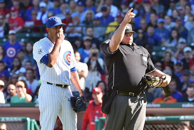 Umpire Bruce Dreckman during a 2015 game.