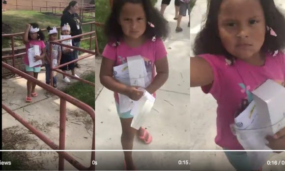 A kindergartner tossed her paper-made crown at her mom's camera during parent pick up. She understands summer is over and a lifetime in the working world starts here.