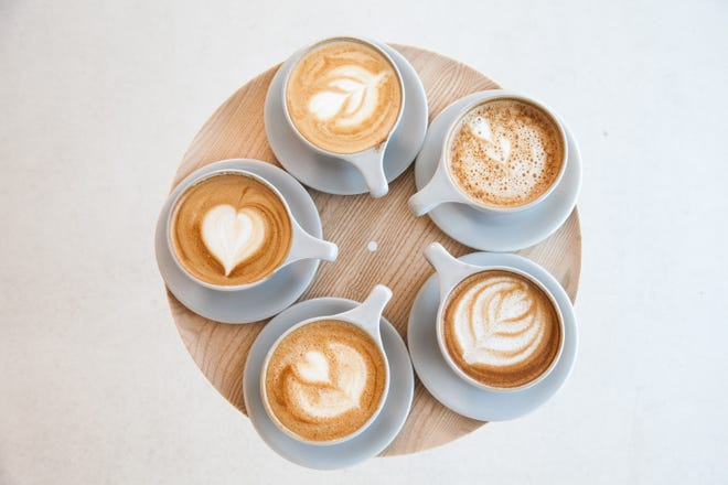 A selection of lattes from Coffee for Sasquatch in Los Angeles that use milk alternatives such as soy, oat, almond and macadamia.