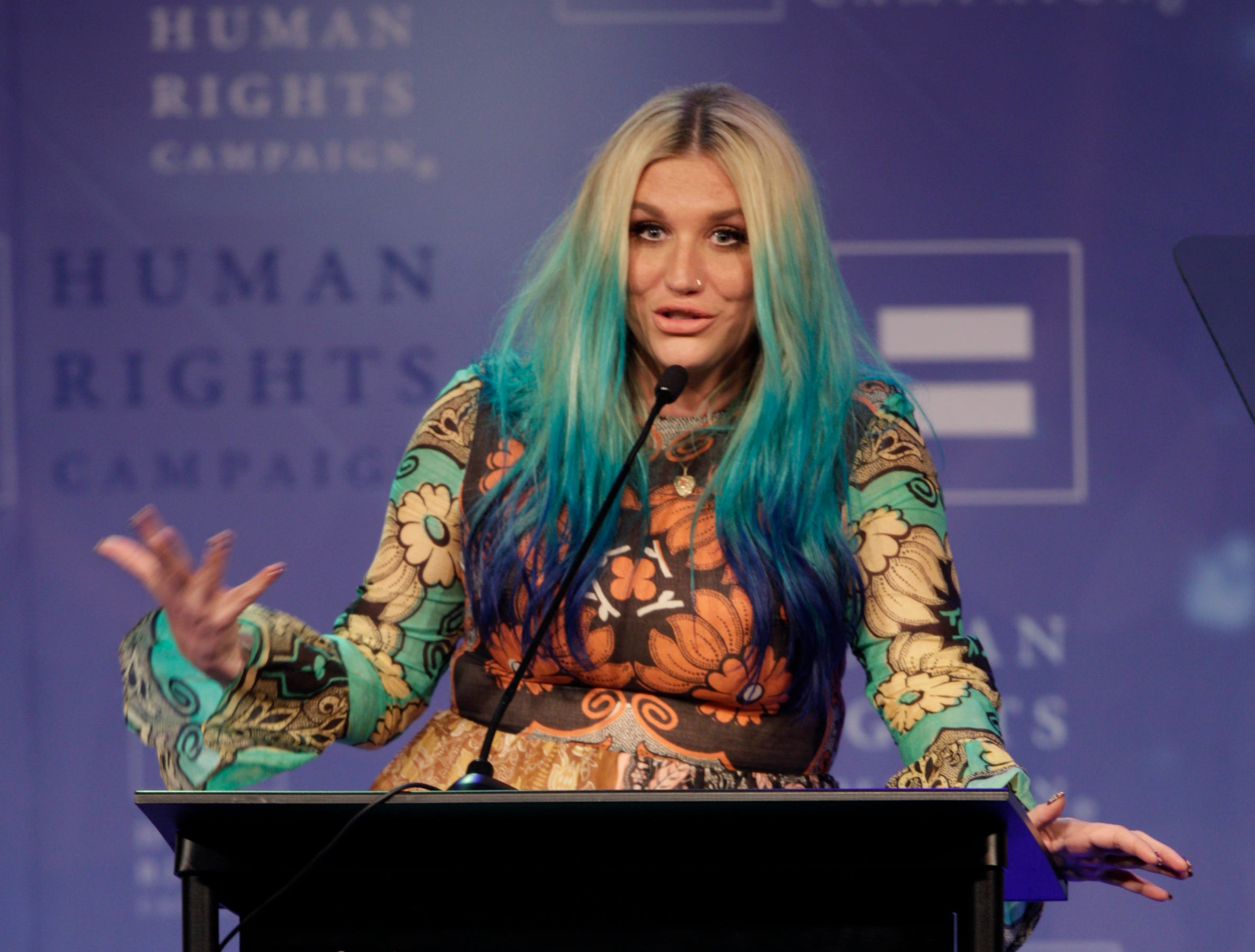 Kesha speaks at the 21st Annual HRC Nashville Equality Dinner, at which she received the HRC's Visibility award, on  March 5, 2016, in Nashville, Tenn.
