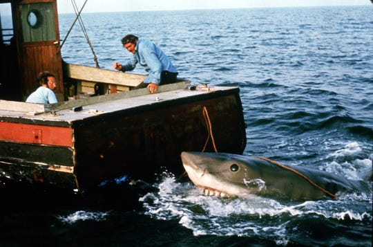 "Richard Dreyfuss, left, and Robert Shaw with the shark in the last moments that boat was floating in ""Jaws."""