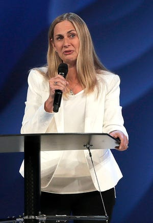 Willow Creek Community Church lead pastor Heather Larson speaks at the church Wednesday, Aug. 8, 2018,  in South Barrington, Illinois. Larson said she is stepping down, and the entire Board of Elders will do so by the end of the year.