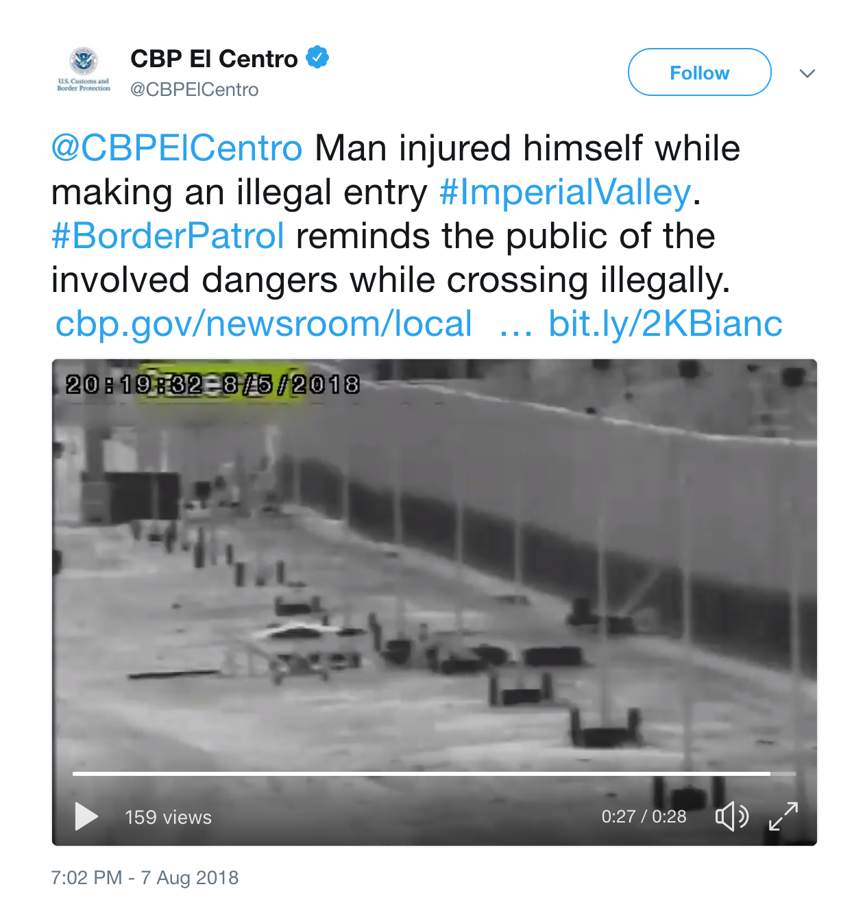 Man trying to enter U.S. illegally breaks both legs falling from 30-foot border wall in California