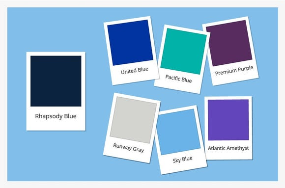 This image provided by United shows the new colors that will soon be coming to employee uniforms, seats and in-flight linens.