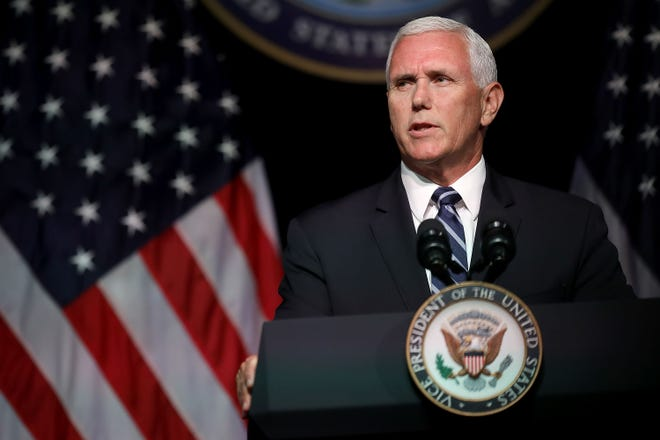 Vice President Mike Pence at the Pentagon on Aug. 9, 2018.