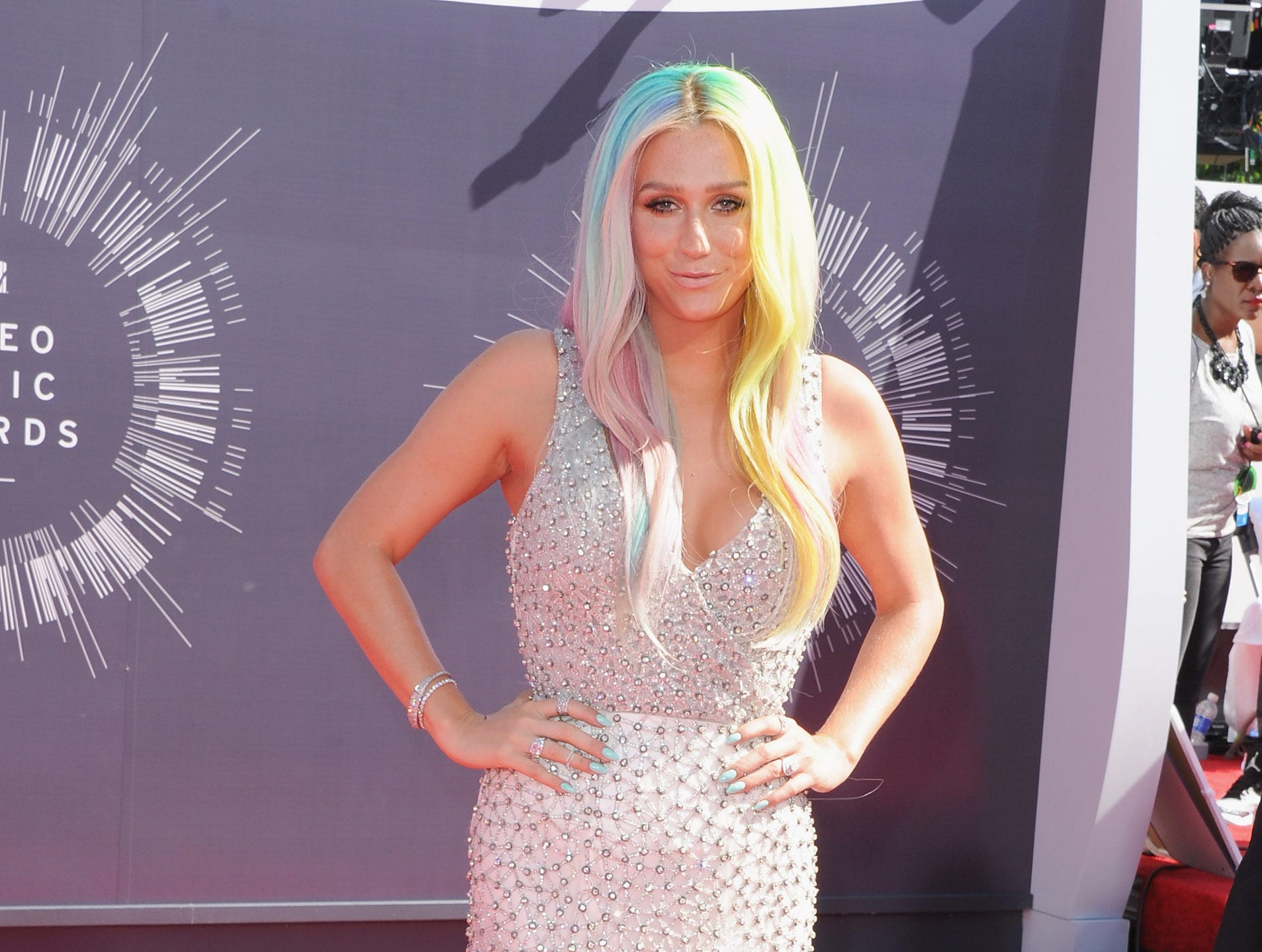 Kesha arrives at the 2014 MTV Video Music Awards on August 24, 2014 in Inglewood, California.
