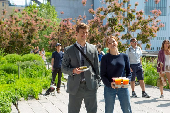 "Glen Powell and Zoey Deutch star as assistants who fall in love while trying to match up their bosses in the Netflix romantic comedy ""Set It Up."""
