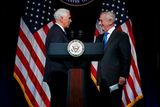 Vice President Mike Pence, left, and  Defense Secretary Jim Mattis at the Pentagon on Aug. 9, 2018.