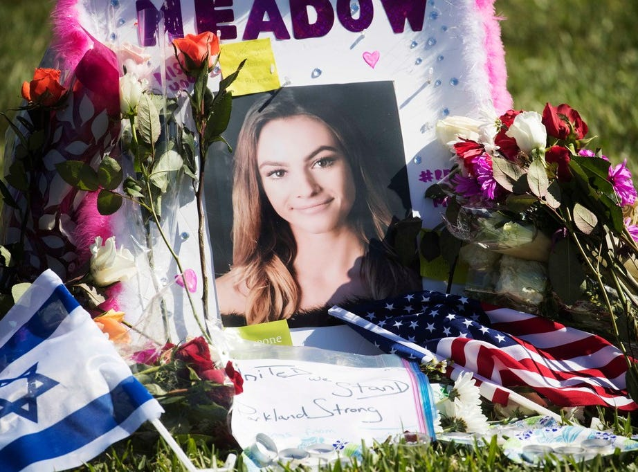 Meadow Pollack, 19,  photo at a memorial for shooting victims, Parkland, Fla., Feb 16, 2018.