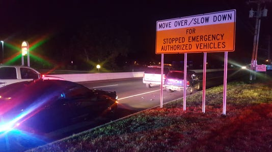 Move Over Sign At Scene Of Crash