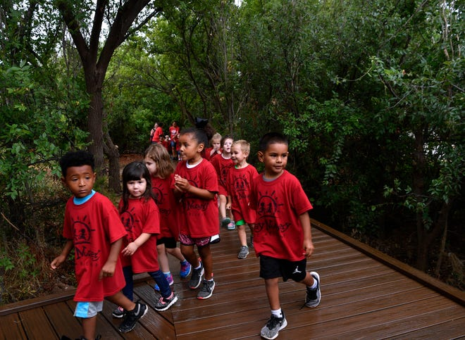 Children from Day Nursery of Abilene visit the Kirby Lake Nature Park,  dedicated in August. The council will vote whether to pursue a grant with Texas Parks and Wildlife to further develop a trail system at Kirby.