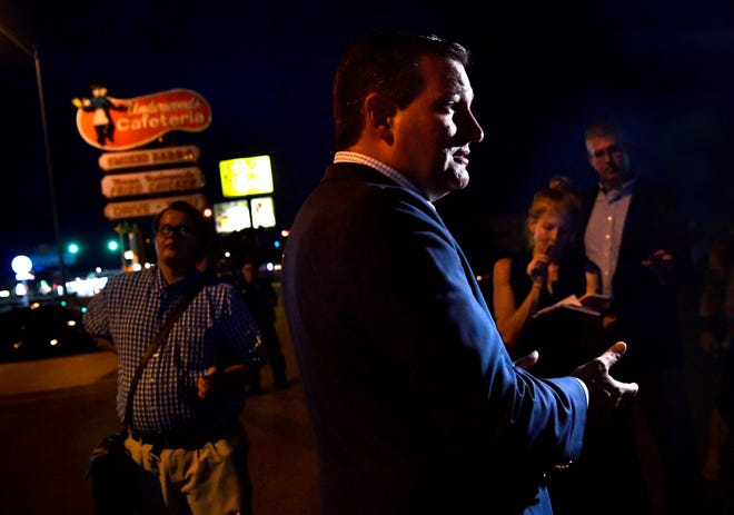 U.S. Sen. Ted Cruz speaks to reporters outside of Underwood's Cafeteria in Brownwood Thursday. Cruz addressed questions about the Trump administration's plans for a new military branch called the Space Force.