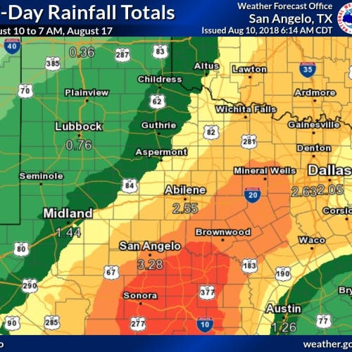 Where is Abilene's 6 inches of rain?