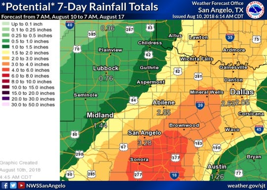 Friday's possible 7-day rain totals