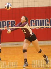 Brownwood's Katelyn Windam bumps the ball during the Lady Lions' match against Wichita Falls High. Brownwood won 29-27, 25-19 during pool play at the Bev Ball Classic on Friday, Aug. 10, 2018 at Cooper's auxiliary gym.