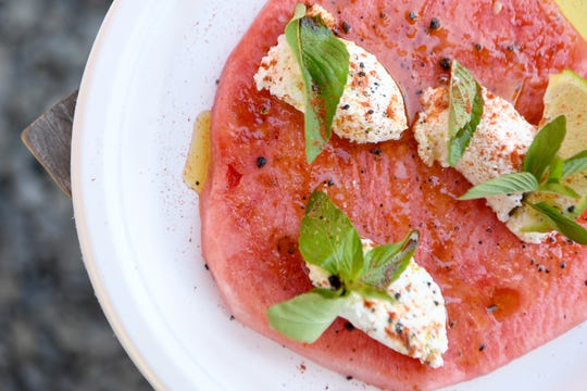 The watermelon and ricotta salad at Burial Beer Co. features mint and black salt.