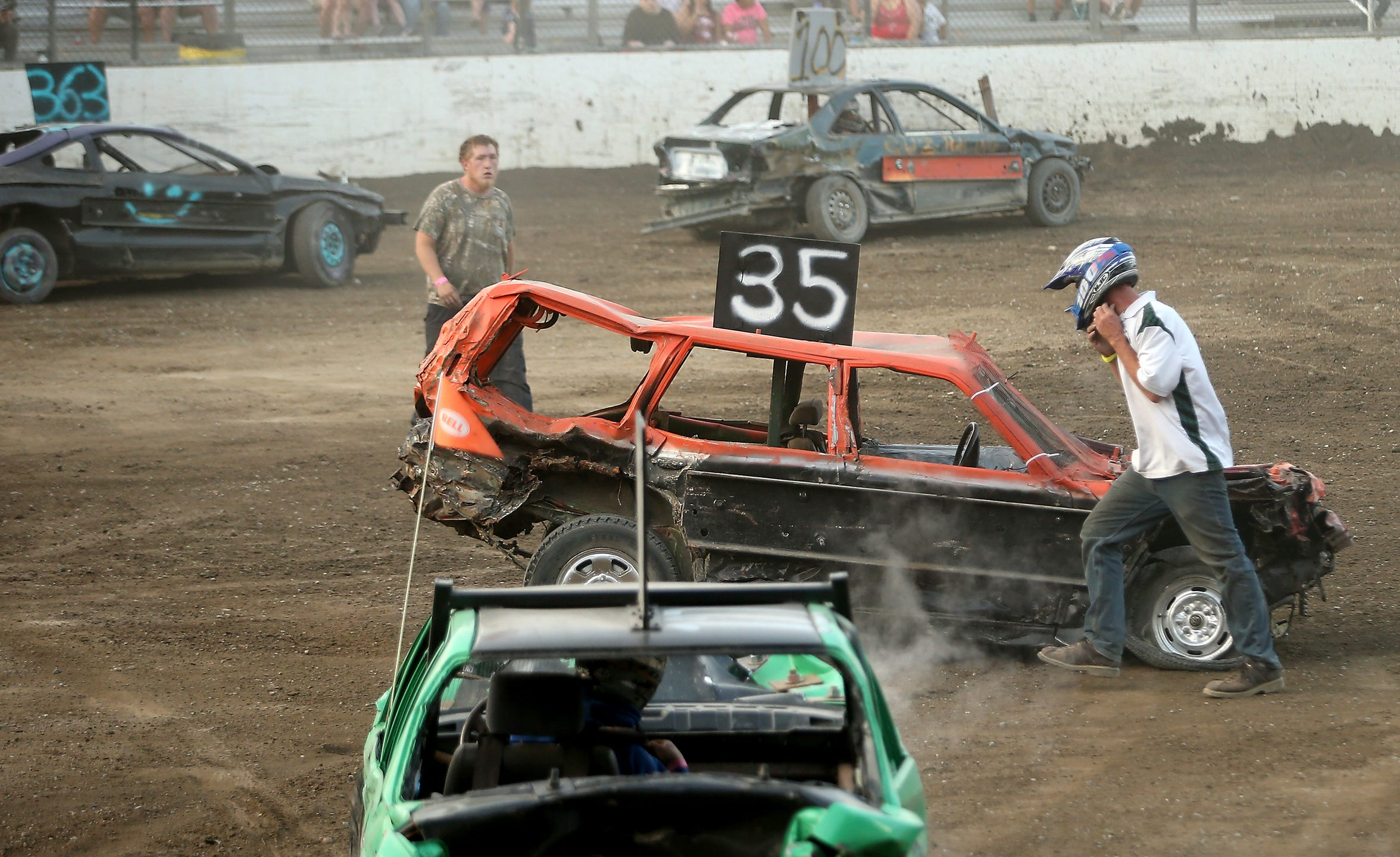 Driving in the Kitsap Destruction Derby carries some risks. Steve Morgan, in the No. 35 car, briefly lost consciousness after taking a hit during the finale of the July event.