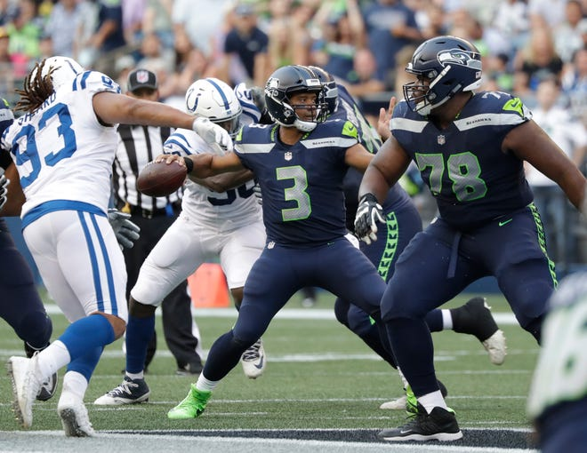 Seahawks quarterback Russell Wilson played just one drive in Thursday's preseason opener against the Colts, but he completed four of five passes, including a touchdown, on that drive.