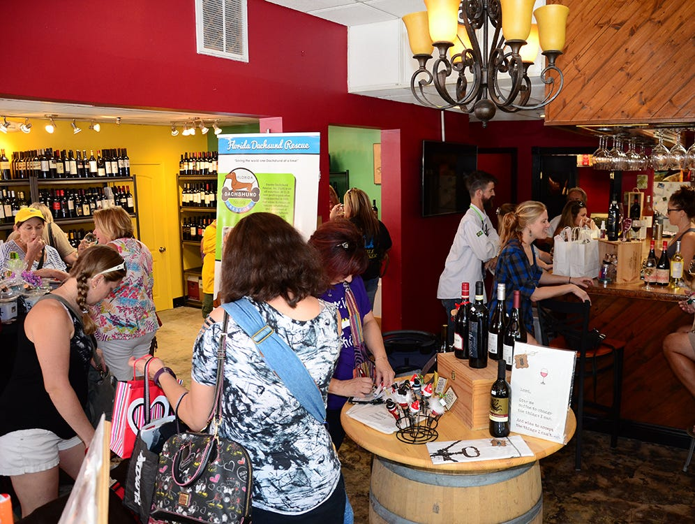 A good crowd turned out for the Paws for a Sip benefit held Saturday for the Florida Dachshund Rescue.