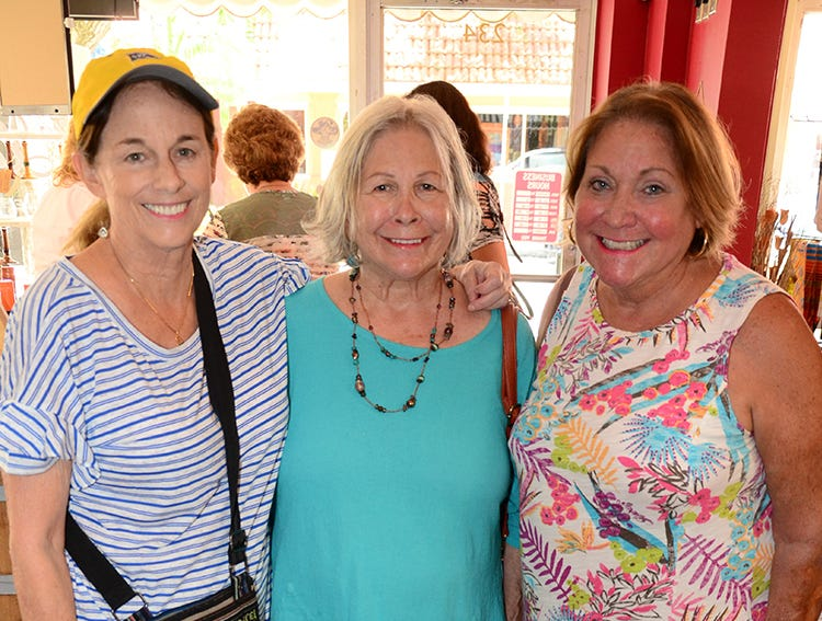 Coming together Saturday afternoon at The Wine Lady in Cocoa Village were Susan Thomas, Mary Kizis, and Kathy Carr. The three attended the Paws for a Sip benefit hosted by Tails at the Barkery for the Florida Dachshund Rescue.