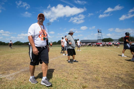 Orange Grove coach Mark Del Percio watches as his team practices on Friday, August 10, 2018 at Orange Grove High School.