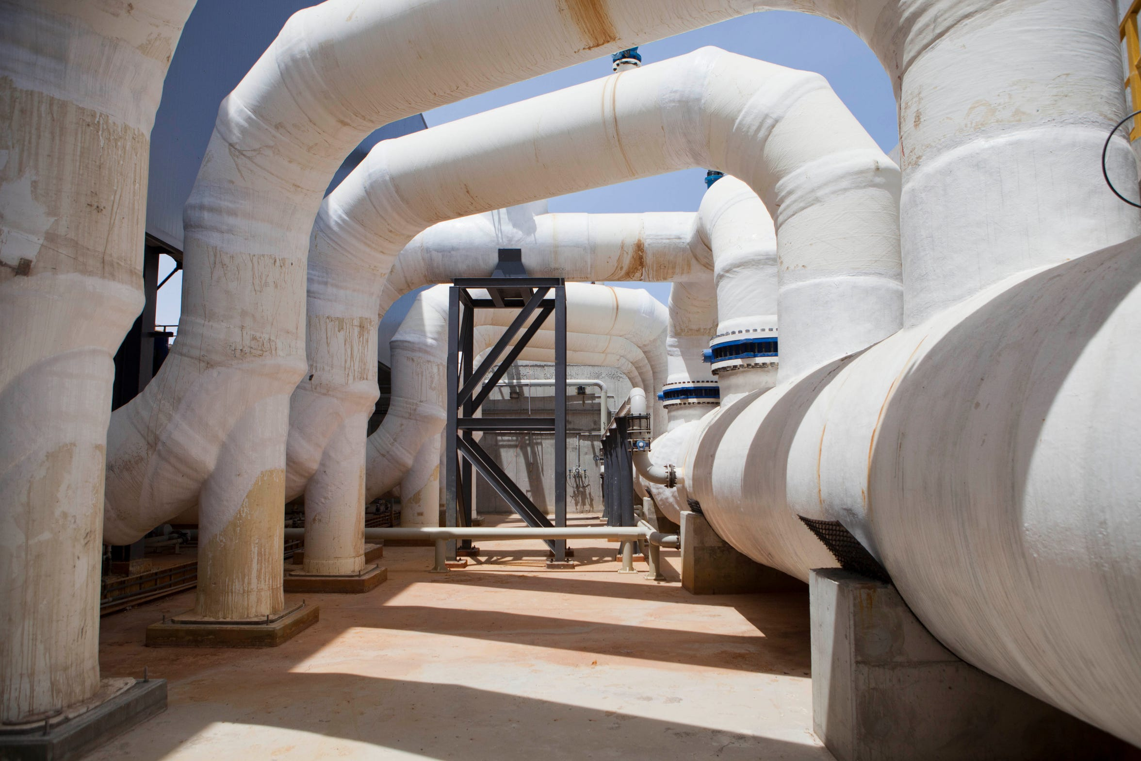 This Sunday, May 4, 2014 photo shows Sorek desalination plant in Rishon Letzion, Israel. Israel's aggressive desalination program that has transformed this perennially parched country into perhaps the most well-hydrated country in the region. (AP Photo/Dan Balilty)