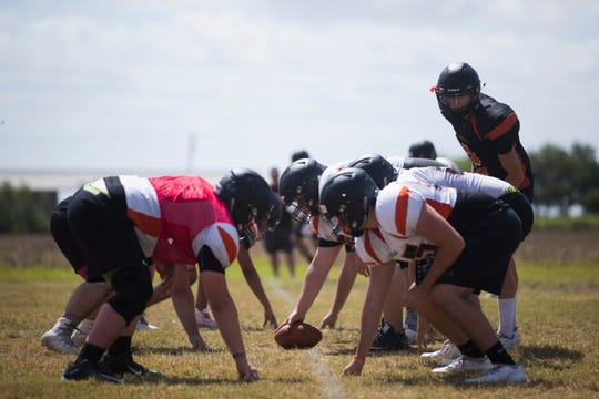 Orange Grove football team practices on Friday, August 10, 2018 at Orange Grove High School.