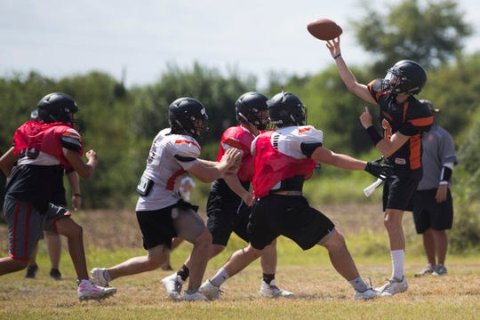 Orange Grove's Coleman King throws the ball during football team practices on Friday, August 10, 2018 at Orange Grove High School.