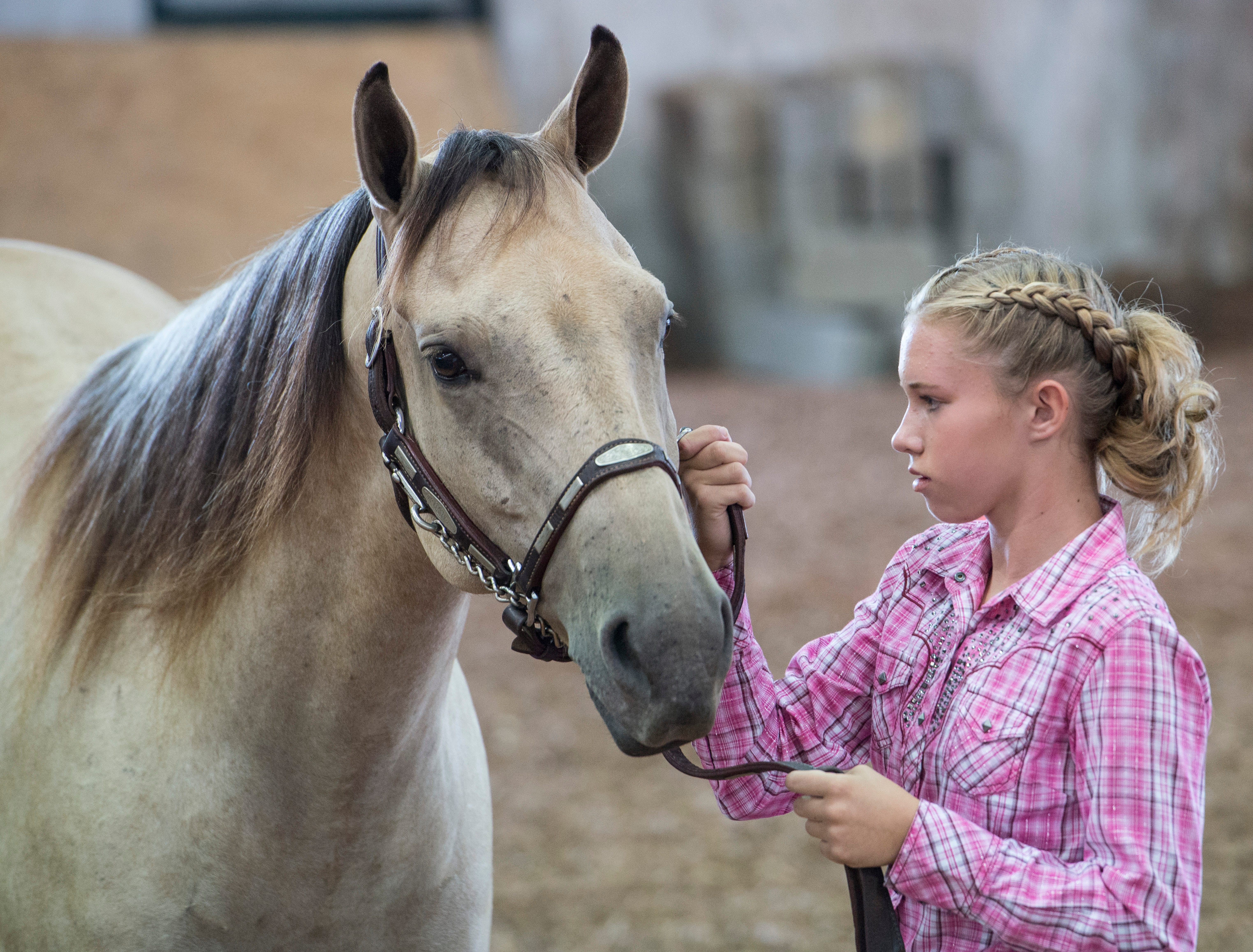Chloe Willis, junior contestant, works with a horse during the Showman of Showmen Contest in Large Animals at the Ross County Fair on August 10, 2018, in Chillicothe, Ohio.