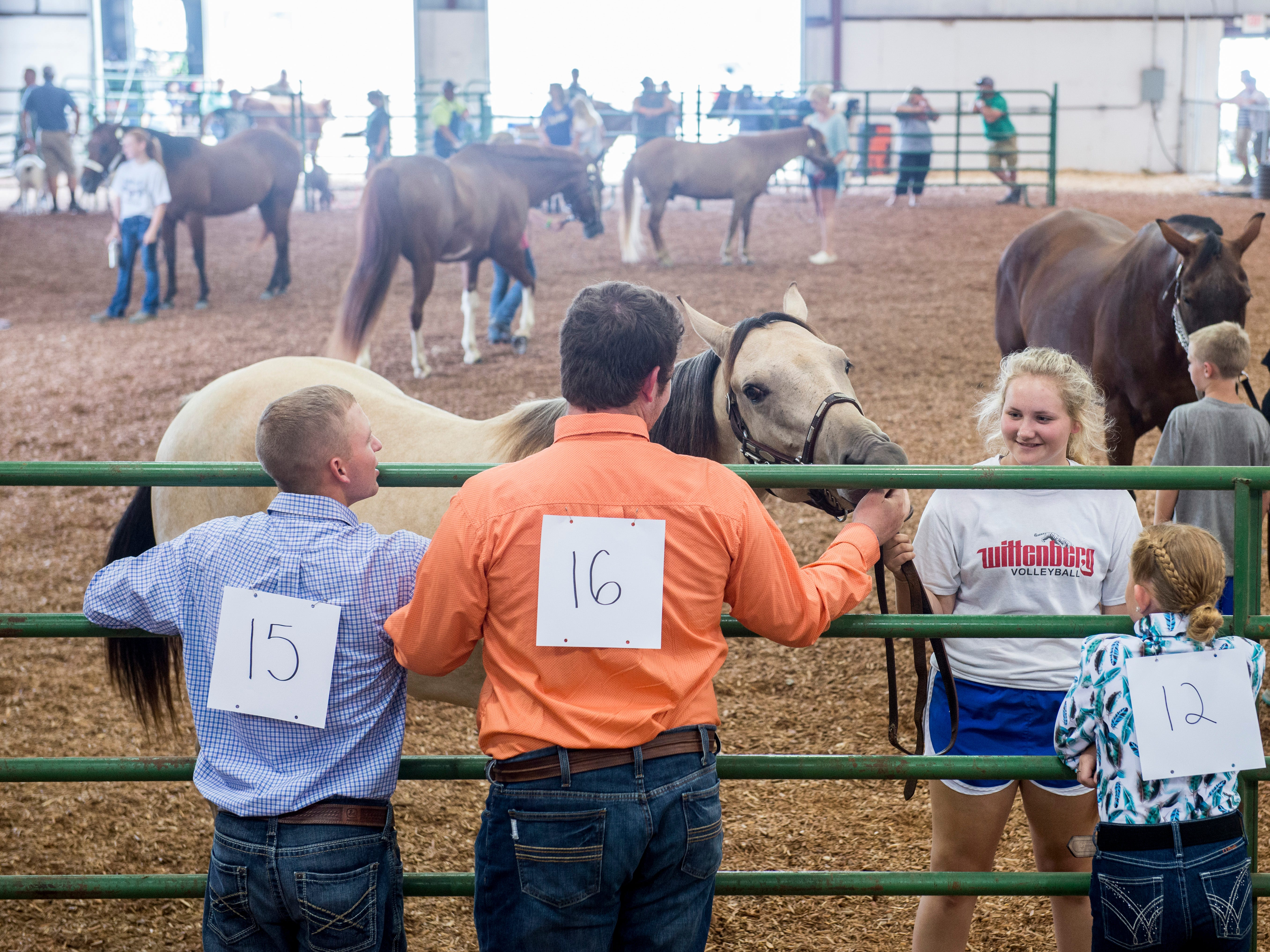 Contestants pet a show horse during the Showman of Showmen Contest in Large Animals at the Ross County Fair on August 10, 2018, in Chillicothe, Ohio.