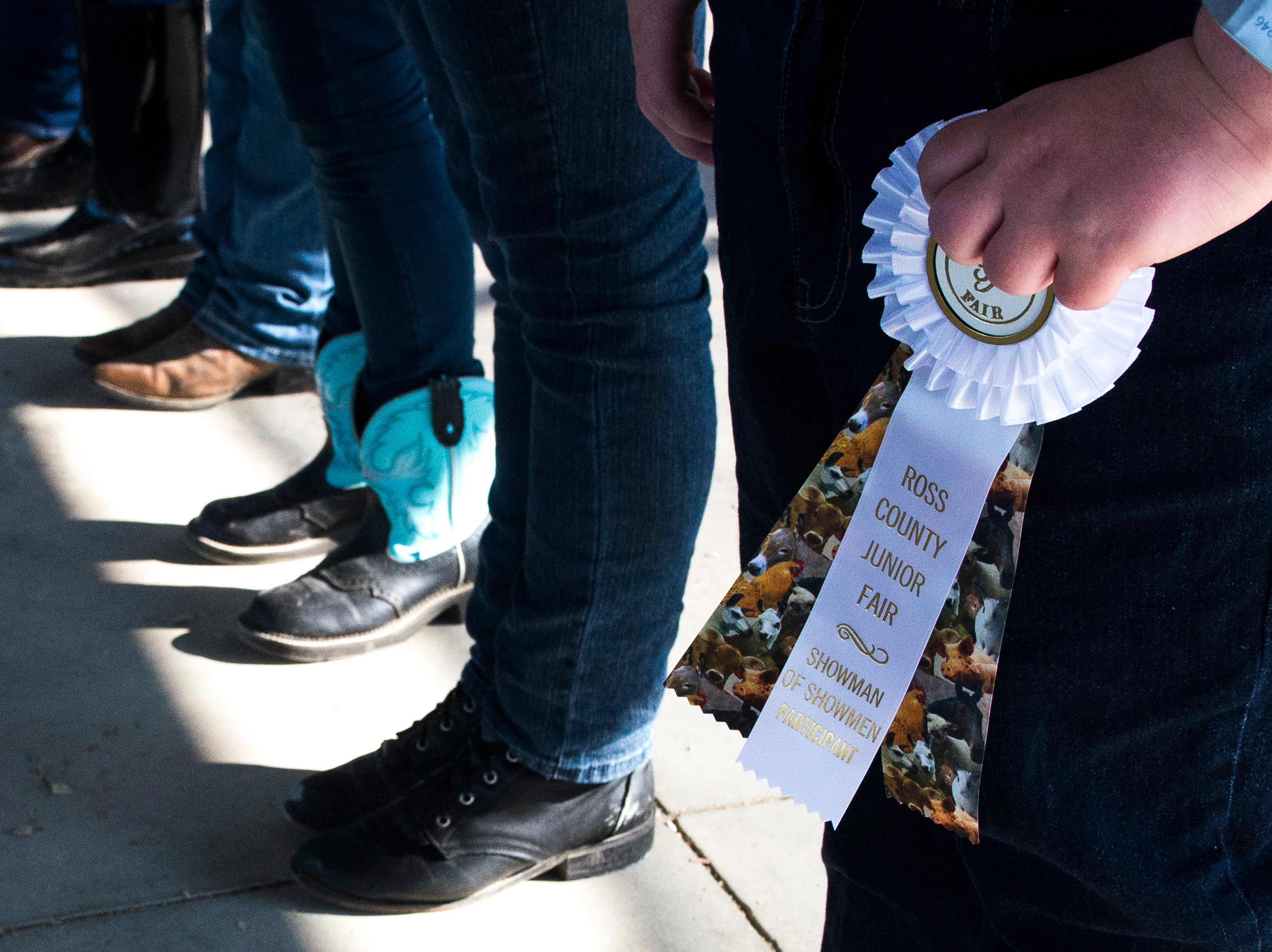 Contestants line up for the award ceremony during the Small Animal Showman of Showmen Contest at the Ross County Fair on August 9, 2018 in Chillicothe, Ohio.