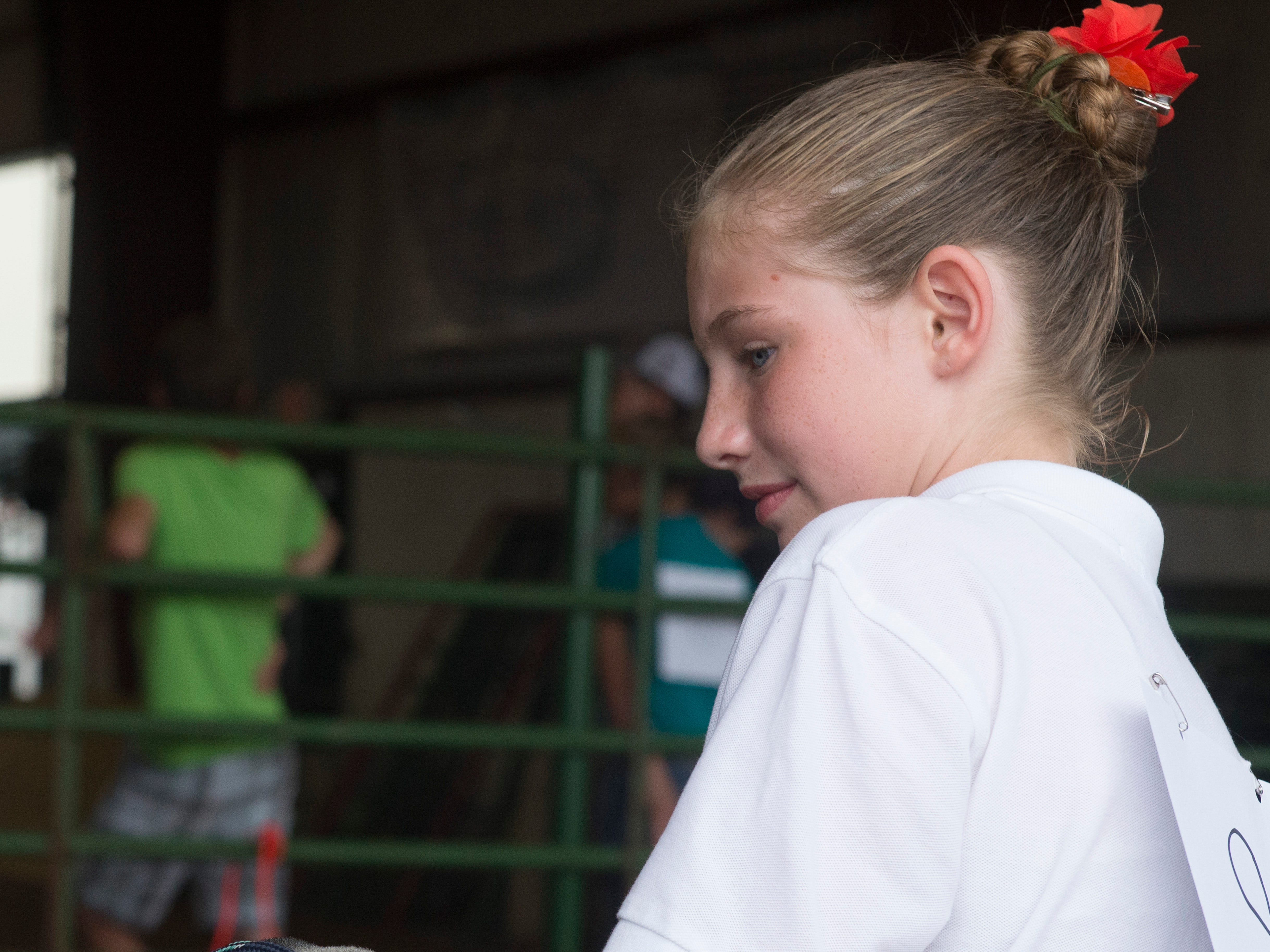 Lacy Andreadis, junior contestant, works with a sheep during the Showman of Showmen Contest in Large Animals at the Ross County Fair on August 10, 2018, in Chillicothe, Ohio.