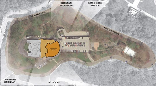 An aerial site plan of the Playhouse in the Park's current Eden Park complex. The Shelterhouse theater – on the left side of the plan – and the parking lot, on the right, will remain unchanged. Once the new mainstage theater is constructed, the Marx Theatre be razed.