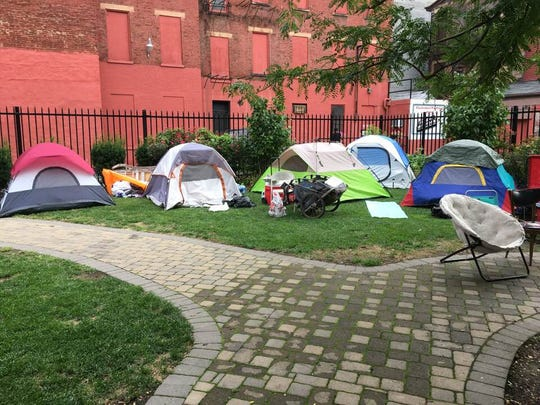 Cincinnati's homeless camp settled in Over-the-Rhine Friday.