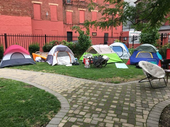 Cincinnati's homeless camp settled in Over-the-Rhine Friday.