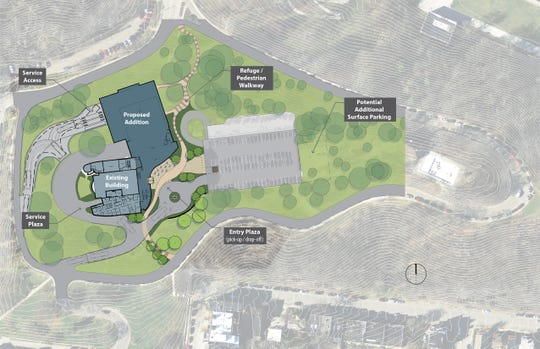 The proposed site plan for the new Playhouse in the Park Mount Adams complex would locate the new mainstage theater on the hillside between the existing Marx Theatre and the Cincinnati Art Museum.